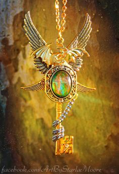 Golden Empress Dragon Fantasy Key Pendant OOAK by ArtbyStarlaMoore, $55.00