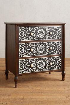 Tapestry Inlay Three-Drawer Dresser