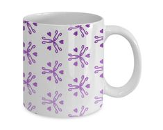 Heart Vase Pattern Mug in Purple Ombre - Pretty Gift Ideas