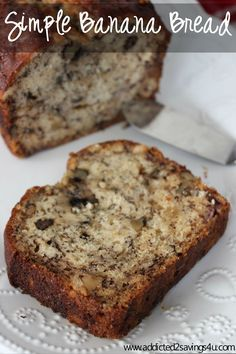 Looking for an easy banana bread recipe? This Simple Banana Bread is so easy to make and tastes delicious! Made up of Ripe Bananas, sugar, eggs, vanilla, flour and baking soda. Nut Bread Recipe, Easy Bread Recipes, Banana Bread Recipes, Cafeteria Menu, Just Desserts, Dessert Recipes, Cake Recipes, Moist Banana Bread, Simple Banana Bread
