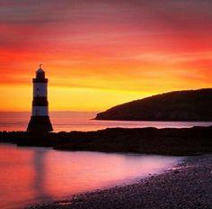 Sea, sunset,  lighthouse, beautiful places