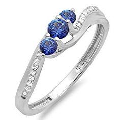 18K White Gold Round Blue Sapphire And White Diamond 3 Stone Ladies Swirl Bridal Engagement Ring