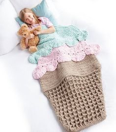 Crochet Ice Cream Snuggle Sack + Tutorial