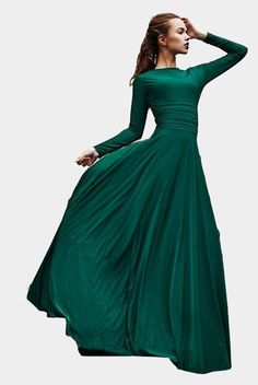 New Women's Stylish Evening Prom Dress, Green Prom Dresses,Robe De Soiree,Long Sleeves Evening Dresses Dark Green Prom Dresses, A Line Prom Dresses, Trendy Dresses, Nice Dresses, Formal Dresses, Party Dresses, Women's Dresses, Vintage Dresses, Casual Dresses