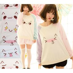 ♡ ƑASHiON ♡ kawaii kitty face emoticons - pull over sweater - bloomer shorts - stockings - pastel - anime - cute - moe - kawaii Tokyo Fashion, Harajuku Fashion, Kawaii Fashion, Lolita Fashion, Cute Fashion, Look Fashion, Fashion Outfits, Kawaii Clothes, Japanese Fashion