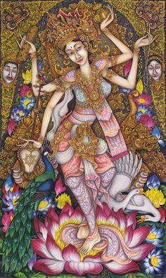 Hand painting Balinese Goddess Saraswati Ramayana 263