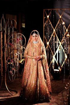 Sparkling Pakistani Style Long Bridal Gown in Pink and Gold by Sabyasachi Beautiful Wedding Gowns, Pakistani Wedding Dresses, Bridal Dresses, Indian Dresses, Dream Wedding, Eastern Dresses, Engagement Dresses, Indian Bridal Wear, Wedding Suits