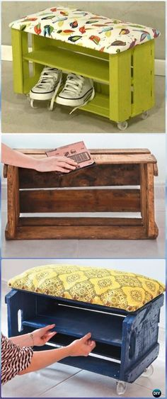 DIY Wood Crate Shoe Bench Instructions - DIY Wood Crate Furniture Ideas Projects