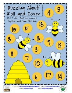 This math game practices adding three numbers together.Directions: Roll 3 dice. Add the numbers together. Cover the sum on the game board.... Math For Kids, Fun Math, Math Games, Math Activities, Spring Activities, Classroom Freebies, Math Classroom, Classroom Ideas, Preschool Math