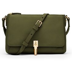Elizabeth and James 'Micro Cynnie' Leather Crossbody Bag ($295) ❤ liked on Polyvore featuring bags, handbags, shoulder bags, olive, leather cross body handbags, shoulder strap bag, leather shoulder bag, green leather handbag and olive green purse