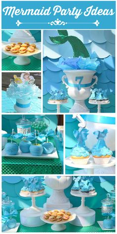Gorgeous dessert table at a mermaid girl birthday party with cupcakes and candy apples! See more party planning ideas at CatchMyParty.com!