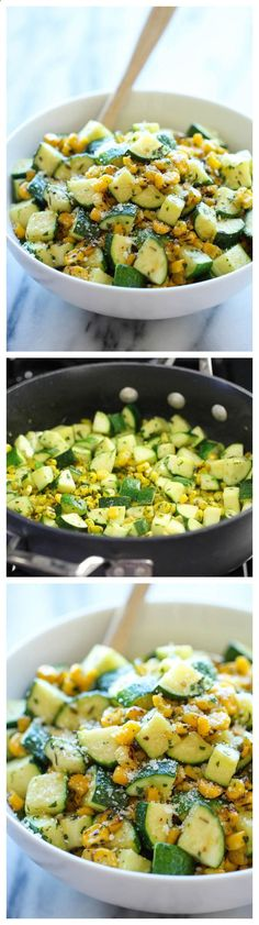 Parmesan Zucchini and Corn - A healthy 10 minute side dish to dress up any meal. Its so simple yet full of flavor!