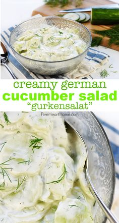 Creamy German Cucumber Salad, or Gurkensalat, is a fresh and simple side dish featuring thinly sliced cucumbers in a sour cream and dill dressing! Cucumber Salad Sour Cream, Creamed Cucumber Salad, Sour Cream Cucumbers, German Cucumber Salad, Easy Cucumber Salad, Salad Recipes Healthy Lunch, Cucumber Recipes, Salad Recipes For Dinner, Chicken Salad Recipes
