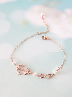 Lucky Rose Gold Anchor bracelet - simple rose gold filled chain bracelet with Anchor, best friends, sisters, mum, navy, sea, teacher, www.colormemissy.com