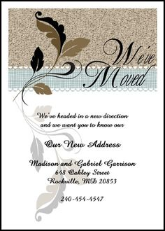 enjoy most creative we've moved announcement cards with flourish leaf at InvitationsByU.com, invitation number, 7669IBU-WM and find special discounted prices and other special promotions