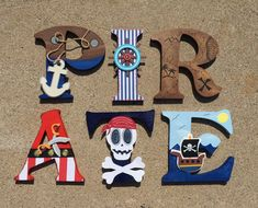 AHOY MATEY! These wooden letters are customized to your needs, and in the case of these wood initials they are all about Pirates! Whether you are in the market for boys' pirate décor, children's room décor, or just a set of wooden letters with a pirate theme, KidMuralsByDanaR will create something special just for you! All of my pirate initials are created using a combination of high quality wood, acrylic and spray paints, and card stock, and embellishments. If you would like to add a…