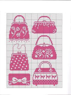 point de croix sacs à main roses - cross stitch pink handbags