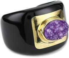 "KARA by Kara Ross ""Drusy"" Large Oval Resin Cuff Bracelet, Purple KARA by Kara Ross. $250.00. Made in United States. Hand-cut drusy. 14k gold plate"