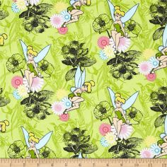 Tinkerbell Flannel Mystic Forest Allover Lime from @fabricdotcom  Licensed by Disney to Springs Creative Product, this double-napped flannel fabric is a design of a well-known character. Colors include yellow, aqua, pink and black on a lime background. For noncommercial use only.