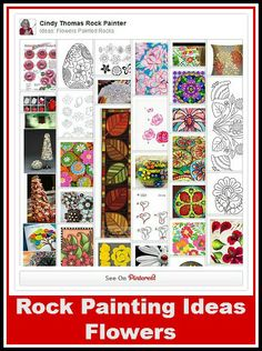 Ideas, inspiration and tips for painting flowers, leaves, plants, and trees on rocks and stones.