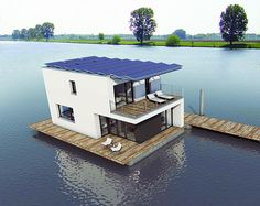 The Autarkhome house boat truly brings passive living to the high seas. The Maastricht, Netherlands docked house is an entirely self-sufficient, off the grid floating home. | #Solar Tiny Homes