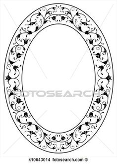 oriental floral ornamental black oval frame View Large Clip Art Graphic