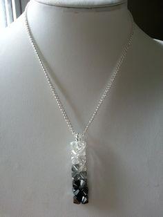Swarovski Ombre Jet Black, Black Diamond Crystal Pendant Necklace by Crystallure on Etsy