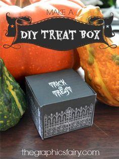 DIY Halloween Treat Boxes - Free Printables - The Graphics Fairy