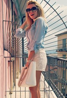 White lace skirt + chambray + pearls