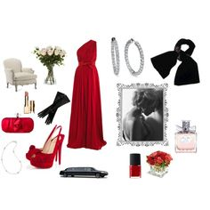 "Eva's outfit at charity dinner with Gideon and their first time sex in the limo. Red fire one shoulder Greek goddess dress with the split at the right upper thigh, the diamond hoop earrings, the diamond anklet bracelet that Gideon loved, the glossy nude lipstick, the black velvet shawl, the opera length gloves and clutch. #Crossfire ""Bared to you"""