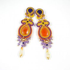 Colour burst - soutache earrings with carlnelians, amethysts, agates, jades and Swarovski elements.