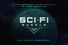Sci-Fi Bundle: Space Fonts Backgrounds Logos UI Kit - only $17!