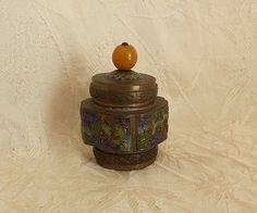 Antique Chinese Champleve Enamel Brass Tea Caddy w Glass Knob ca: 1920's