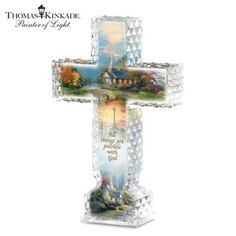 A FIRST! Limited-edition Thomas Kinkade cross handcrafted in luminous faceted…