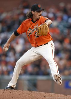 San Francisco Giants pitcher Jeff Samardzija pitches during the 1st inning against the Marlins.