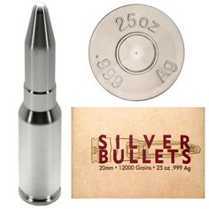 25oz Silver Bullet 20mm Cannon Ammo Replica Silver Bullet, Silver Rounds, Cannon