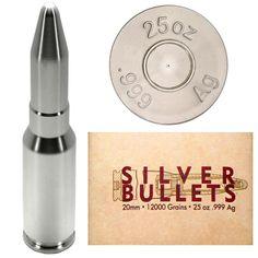 25oz Silver Bullet 20mm Cannon Ammo Replica