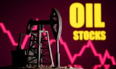 """A printed oil pump jack is seen in front of displayed stock graph and """"Oil Stocks"""" words in this illustration picture - Buy this stock photo and explore similar images at Adobe Stock Analyse Technique, L Intelligence, Le Prix, Internet, Neon Signs, Mayo, Barrels, First Time, Mondays"""