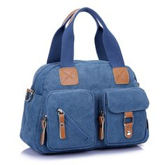 Women Canvas Tote Handbags Contrast Color Shoulder Bags Multi Pockets Crossbody Bags  Worldwide delivery. Original best quality product for 70% of it's real price. Hurry up, buying it is extra profitable, because we have good production sources. 1 day products dispatch from warehouse. Fast...