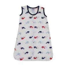 Bacati - Little Sailor Whales Boys 100% Cotton breathable Muslin Sleep Sack (Choose Your Size), Size: Small (10-18lb), Blue