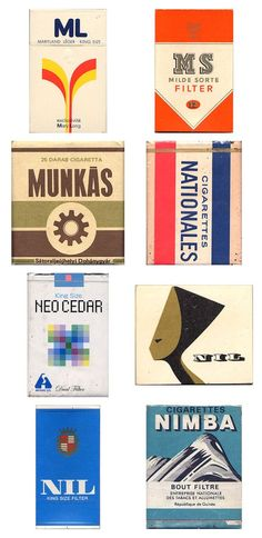 Cigarette pack designs from the past