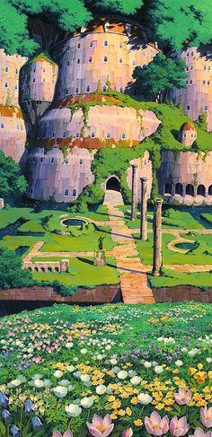 Escenarios Ghibli: Los jardines de la isla flotante de Laputa, en 'El castillo en el cielo' (Hayao Miyazaki, 1986)