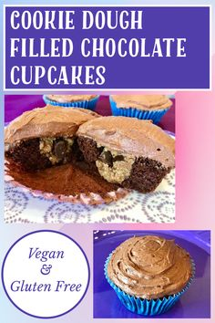 Gluten Free Cookie Dough, Vegan Cookie Dough, Gluten Free Cookies, Vegan Chocolate Frosting, Chocolate Cupcakes, Vegan Cupcakes, Yummy Cupcakes, Filled Cupcakes, Paper Cupcake