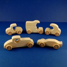 Wooden Toy Vehicles Set of 4 Cars and Van 5 Piece.....sweet wheels