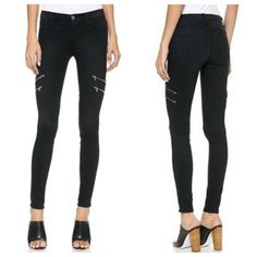 """J Brand Dee Zip jeans J Brand 8870 Dee Zip skinny denim in versatile black denim feature four zipper details along the thighs for a punk edge. 4-pocket styling. Button closure and zip fly. Approx 8.5"""" rise and 29.75"""" inseam.  Fabric: Stretch denim. 92.5% cotton/5% polyester/2.5% elastane. Made in the USA. no trades, no more fit pics. J Brand Jeans Skinny"""