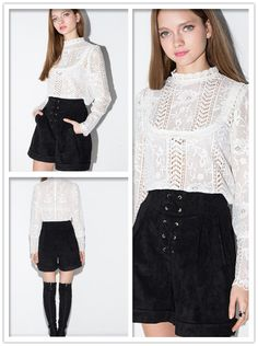 Sexy Blouse, White Stand Collar Blouse, Long Sleeves Hollow Blouse