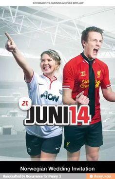Soccer couple wedding invitation! So cool! I want it!!