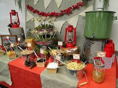 there are soo many things I love about this tablescape! Especially the bandana banner. Make your own trailmix table!!! Better than the candy table. Loooove it. kids would have fun doing this