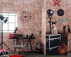 Wallpaper Dimensions: x Price: Room Ideas Bedroom, Bedroom Decor, Red Kids Rooms, Brick Effect Wallpaper, Paper Wallpaper, Wall Wallpaper, Red Bricks, Home Appliances, Flats