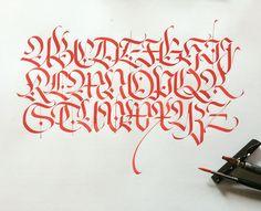 Fraktur capitals, Nib&Gouache on paper, 2017